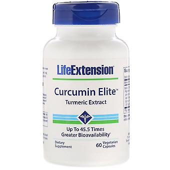 Prolongation de la durée de vie utile, Curcumine Elite, Extrait de curcuma, 60 capsules végétariennes