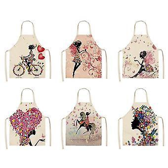 Stylish Cute Cartoon Print Kitchen Waterproof Cotton Linen Apron