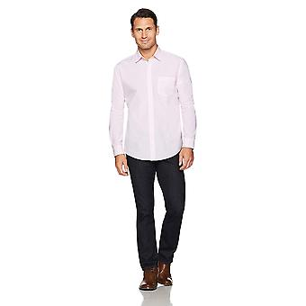 Essentials Herre's Regular-Fit Langermet Solid Casual Poplin Skjorte, Rosa, X-Large