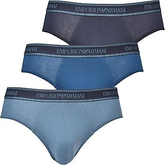 Emporio Armani 3-Pack Logoband Briefs, Silky Blue Mix