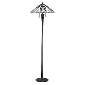 Interiörer Astoria - 2 Ljus golvlampa Svart, Tiffany Style Glass, E27