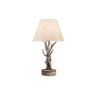 1 lampada da tavolo in legno chiaro marrone con ombra, E27