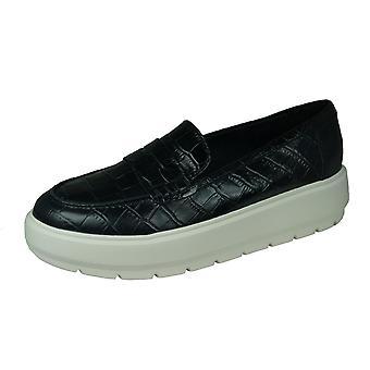 Geox D Kaula D Damen Leder Loafer / Schuhe - Schwarz