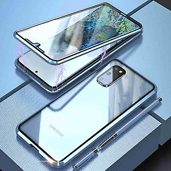 Stuff Certified® Samsung Galaxy S20 Plus Magnetic 360 ° Kotelo karkaistulla lasilla - koko kehon kansikotelo + näytönsuoja hopea