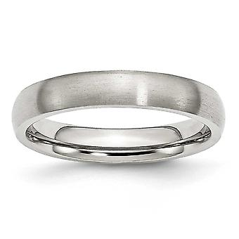 Stainless Steel Half Round Engravable 4mm Brushed Band Ring - Ring Size: 6 to 13