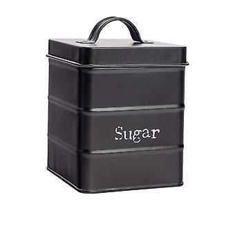علبة السكر الصناعية - الطراز القديم الصلب مطبخ مخزن العلبة مع غطاء - أسود