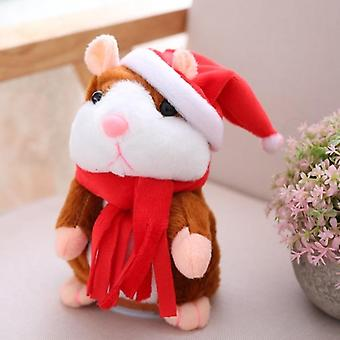 16cm Electric Talking Plush Hamster With Sound Recording, Great On Christmas