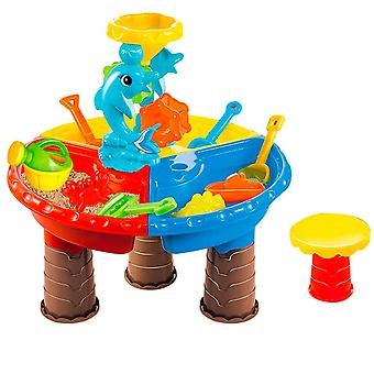 Outdoor Kids Beach Summer Toy , Sand, Water Bucket, Wheel, Table Set Learning