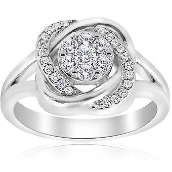 1/2 ct Diamond Halo Crossover zásnubní prsten 14k bílé zlato (K-L, I2-I3)