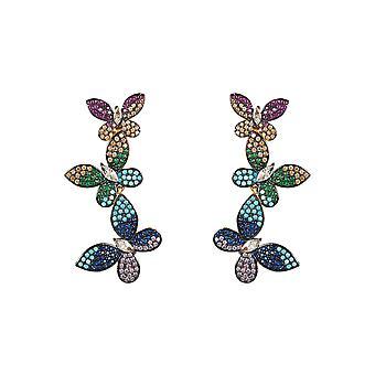 Øreringe Butterfly farverige pink blå grøn gul guld stud sommerfugle CZ rød