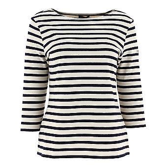 Saint James 5517m Women's White/blue Cotton Sweater