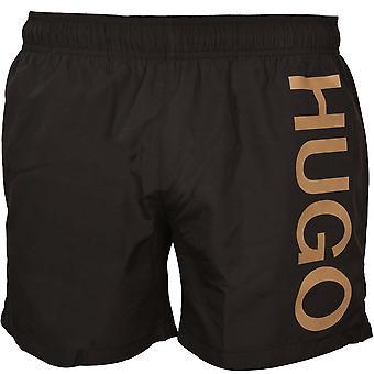 HUGO Abas Side Logo Swim Shorts, Black/gold