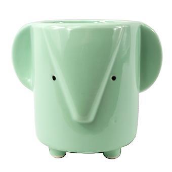 13cm Ceramic Blue Elephant Planter