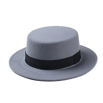 Brand New Wool Boater Flat Top Hat&s Felt Wide Brim Fedora Lady Pie