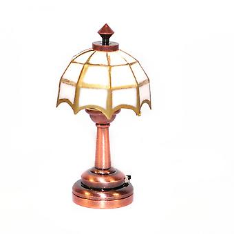 Dolls House Copper Table Lamp White & Gold Tiffany Shade Led Battery Lighting