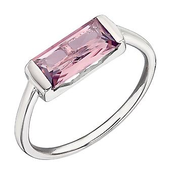 Fiorelli Silver Womens 925 Sterling Silver Baguette Blush Pink Nano Crystal Ring