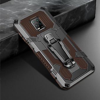 Funda Xiaomi Redmi 10X Case - Magnetic Shockproof Case Cover Cas TPU Brown + Kickstand