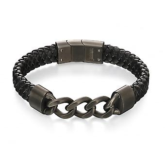 Fred Bennett Gun Metal Ip Link & Black Leather Bracelet