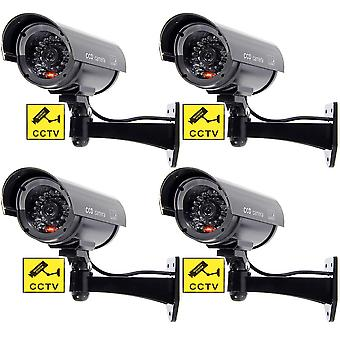Bw 4pcs outdoor indoor fake dummy imitation cctv security camera w/blinking flashing light bullet sh