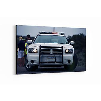 Malerei - Polizei mit blinkenden Lichtern - 100x70cm