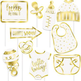 Unique Party Hello Baby Photobooth Props (Pack of 10)