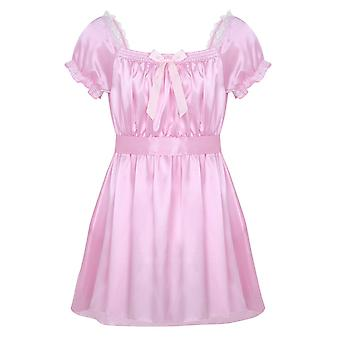 Sissy Nattkläder Sleep Toppar sexiga underkläder Shiny Soft Satin hög låg design