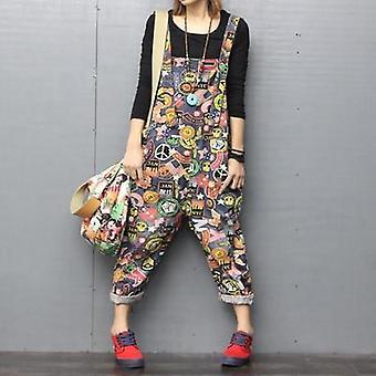 פלוס גודל סרבלים Rompers - אביב ג'ינס סרבלים רופף מותניים גבוהים ג'ינס