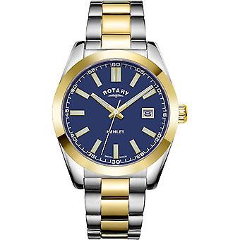 Reloj rotativo GB05181-05 Masculino's Henley Two Tone Sport Blue Dial Wristwatch