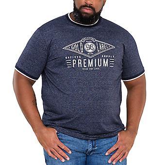 Duke D555 Mens Alister Big Tall King Size Chest Print T-Shirt Top Tee - Blue