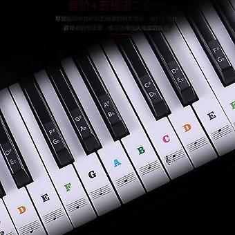 Autocollants transparents de clavier de clavier de notes de musique détachables