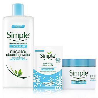 Einfache Wasser Boost Bundle von Hydrating Blatt Maske, Micellar Wasser & Nachtcreme
