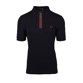 Fred Perry Zip Neck Polo Shirt Navy