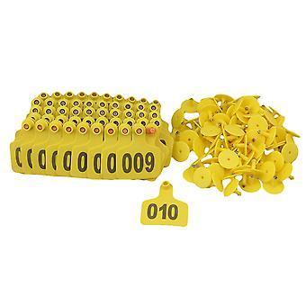 100 Zestawy Żółty Ear Tag z 1-100 numer dla bydła krowiego dużych zwierząt gospodarskich