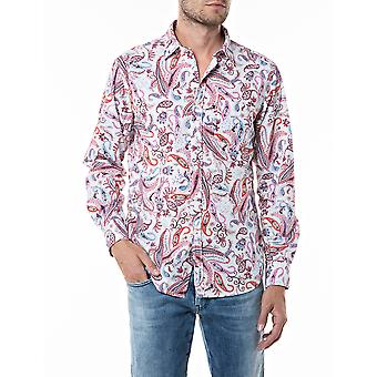 Replay Homme's Shirt Paisley Blanc-Rose