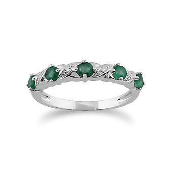 Gemondo ct 9 0,49 ct Esmeralda y diamante media eternidad anillo de oro blanco