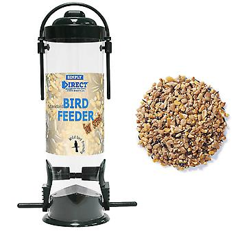 1 x Simply Direct Value Plastic Wild Bird Seed Feeder with 1KG bag of Mixed Seed Feed