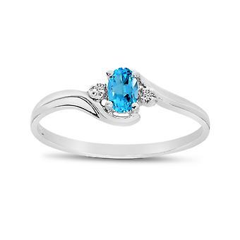 LXR 14k oro blanco oro ovalado topacio y anillo de diamantes 0.19ct