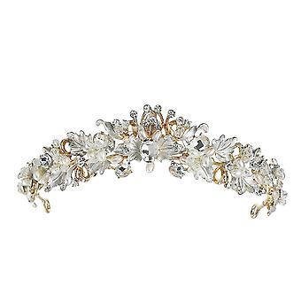 Baroque Vintage Bridal Hair Accessories Antique Crystal Flower Tiara For Women Butterfly Wedding Party Crown