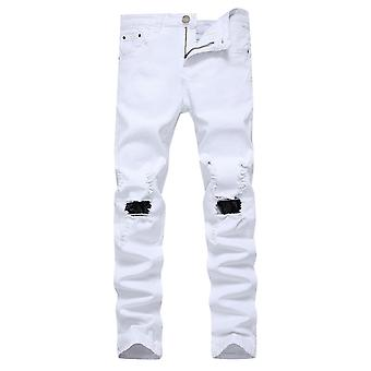 Mile Men's Ripped Casual Jeans Pants, Breathable Comfortable Pants, Red And White
