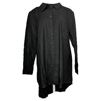 リサ リンナ コレクション 女性&アポス;s トップ ボタン フロント ハイロー ヘム ブラック A368996