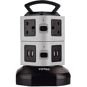 Gerui Power Strip,  6 Way Outlet & 4 USB Ports Switched Multi Plug Extension Lead Tower Surge