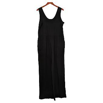 Chiunque tute accogliente maglia serbatoio scoop scollatura nero A374513