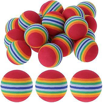 FengChun Praxis Golfblle, 12 Stck Schwamm Golfball, Gestreifte Golf Übungsbälle, Schaum, Regenbogen
