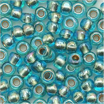 Toho Round Seed Beads 6/0 995 'Gold Lined Rainbow Aqua' 8 Gram Tube