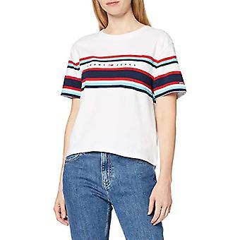 Tommy Jeans Stripe Logo Beskuren Tee W T-shirt, Vit Ybr, 36 (En storlek: XX-Small) Kvinnor
