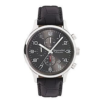 Gigandet Mäns Klocka Kvarts Röd Beröring Analog Kronograf Armband Svart Grått Läder G51-001