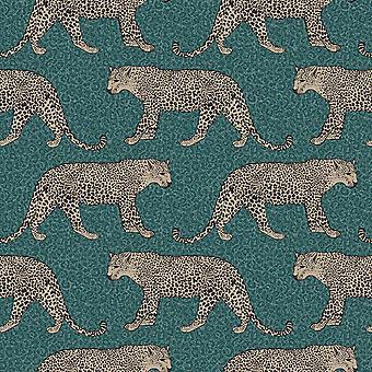 Leopard Wallpaper Emerald Green World of Wallpaper 274683