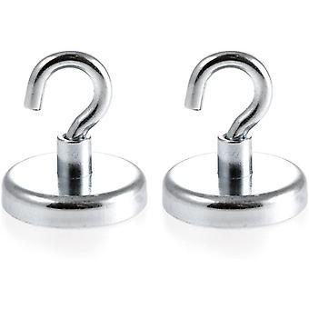 ®   2 Stück Neodym N35 Magnethaken 32 mm Ø   Haftkraft 34.0 Kilogramm   Wandhaken, Deckenhaken   2