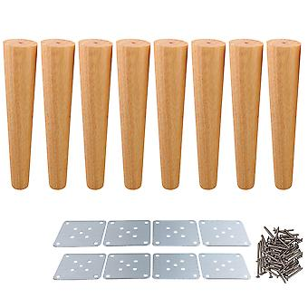8 x Tapered Wooden Furniture Feet Replacement Part 30x6x3.5cm Wood Color