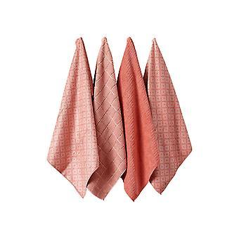 Ladelle Carvere Set of 4 Microfibre Tea Towels, Blush